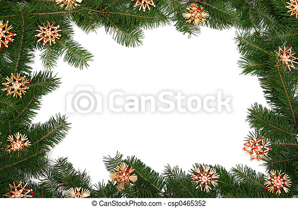 Christmas tree frame. Christmas tree twigs with straw stars on a ...