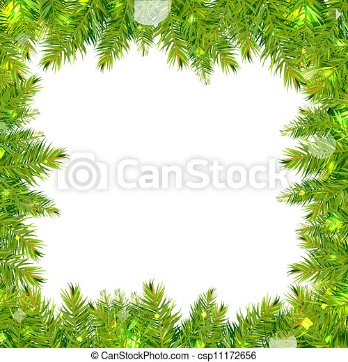Christmas tree frame with stars, isolated on white... clipart vector ...