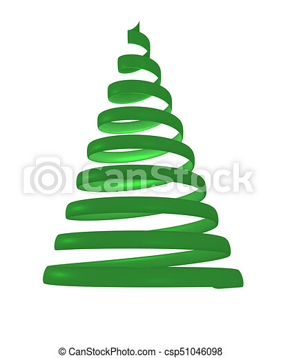 christmas tree from green spiral 3d rendering csp51046098