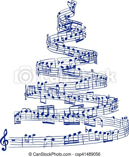 christmas tree from music notes csp41489056