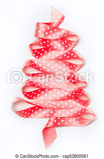 Christmas Tree From Pink Ribbon Tape Isolated On A White Background