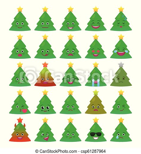 Christmas Tree Funny Emoticons Isolated Set Christmas Tree Funny