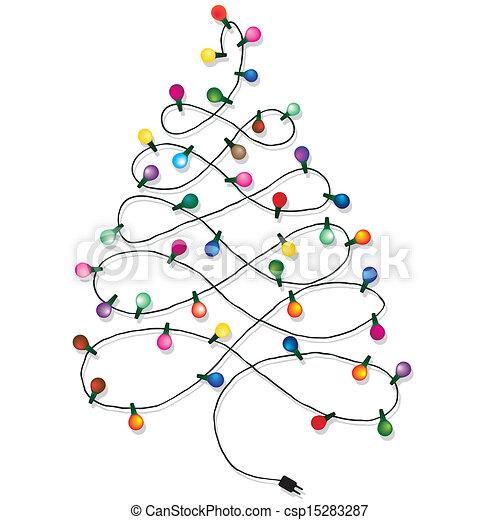 christmas tree garland csp15283287 - Christmas Tree Light Clips