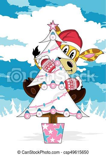 Christmas Tree & Giraffe - csp49615650