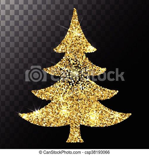 Christmas tree gold glitter vector background. eps 10.