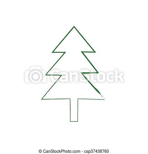 Christmas tree grunge silhouette - csp37438760