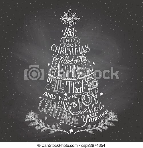 christmas tree hand lettering with chalk clipart vector csp22974854
