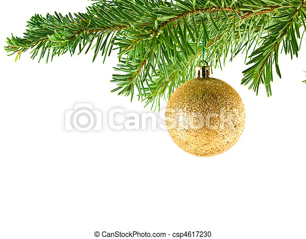 Christmas Tree Holiday Ornament Hanging from a Evergreen Branch Isolated - csp4617230