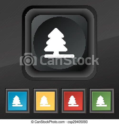 Christmas tree  icon symbol. Set of five colorful, stylish buttons on black texture for your design. Vector - csp29405093
