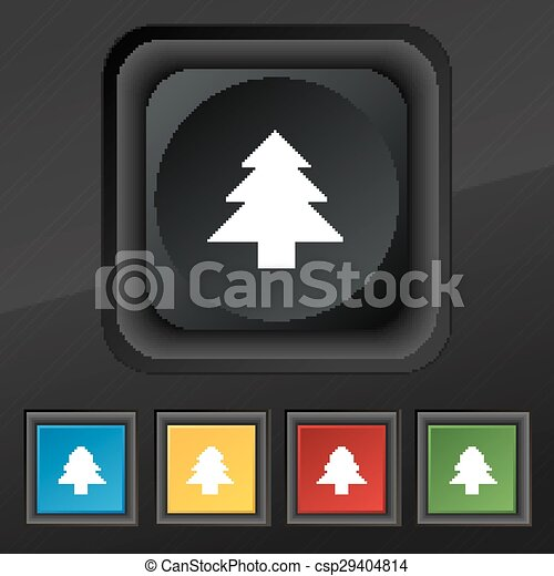 Christmas tree  icon symbol. Set of five colorful, stylish buttons on black texture for your design. Vector - csp29404814