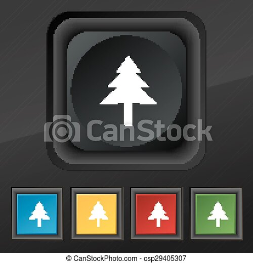 Christmas tree icon symbol. Set of five colorful, stylish buttons on black texture for your design. Vector - csp29405307