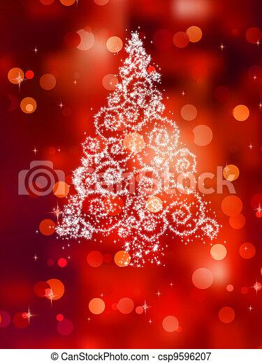 Christmas tree illustration on red. EPS 8 - csp9596207