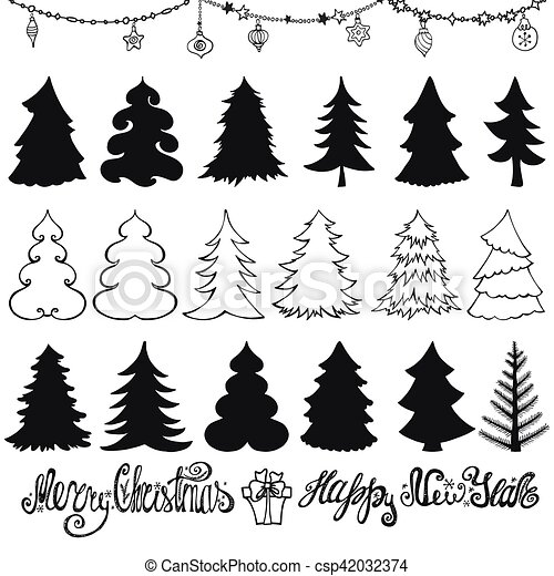 Christmas Tree Silhouettes Lettering Black