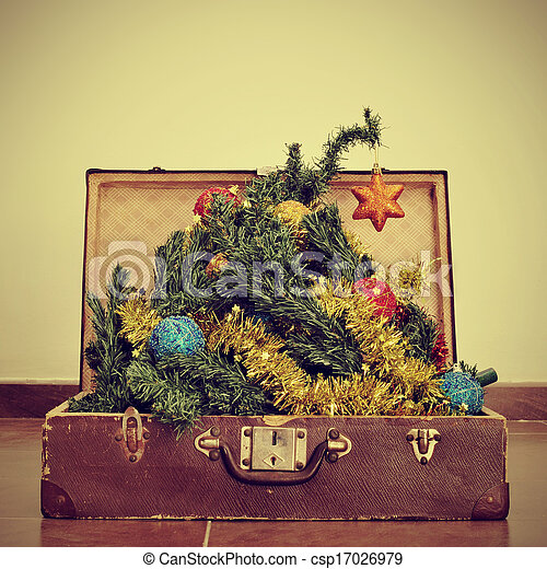christmas tree in a suitcase - csp17026979