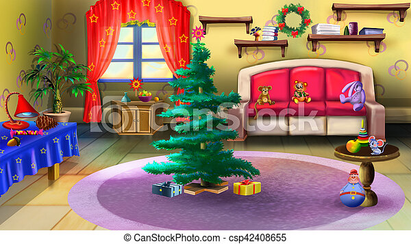Christmas Tree Toys Handmade.Christmas Tree In Baby Room Interior