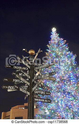 Portland Christmas Tree.Christmas Tree In Portland Pioneer Square Vertical