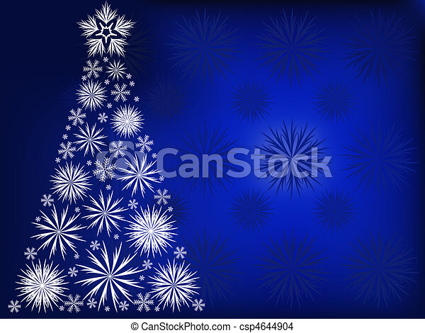 Christmas tree in the blue snow flakes - csp4644904