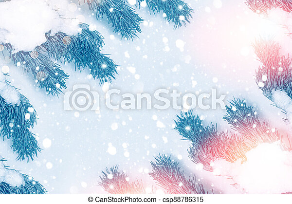 Christmas tree in the snow - csp88786315