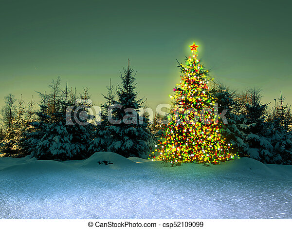Christmas Forest.Christmas Tree In The Winter Forest