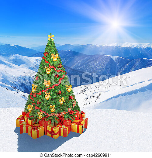 Mountain Christmas Tree.Christmas Tree In Winter Snow Mountains Against Sunshine Sky Background