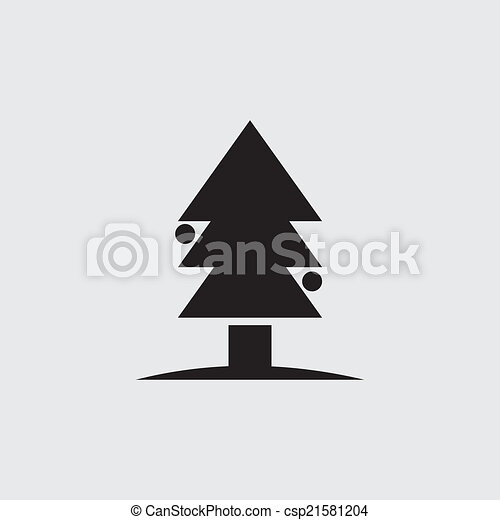 Christmas Tree Isolated On A White Backgrounds Vector Illustration