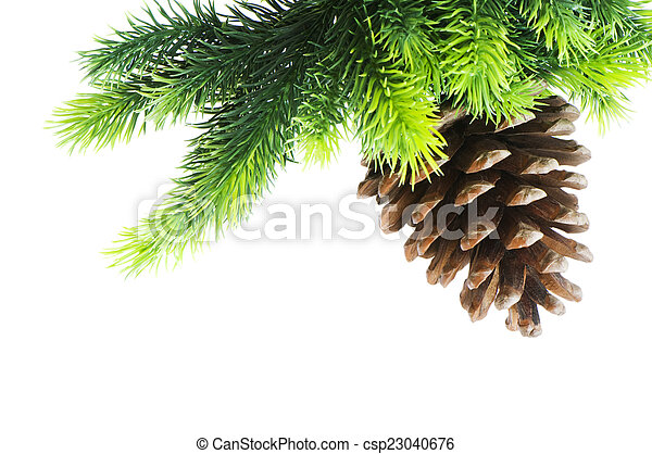 Christmas tree isolated on the white background - csp23040676