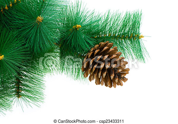 Christmas tree isolated on the white background - csp23433311