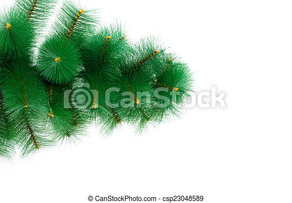 Christmas tree isolated on the white background - csp23048589