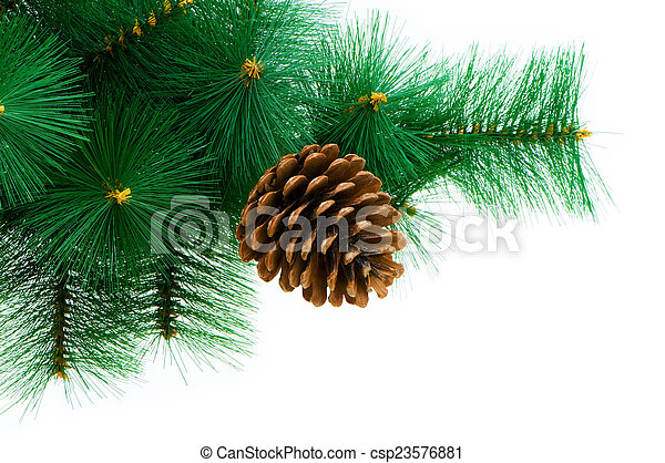Christmas tree isolated on the white background - csp23576881