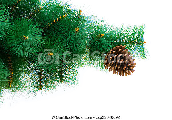 Christmas tree isolated on the white background - csp23040692