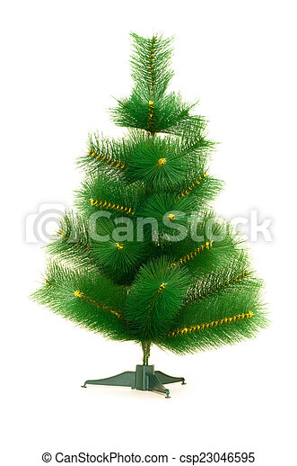 Christmas tree isolated on the white background - csp23046595