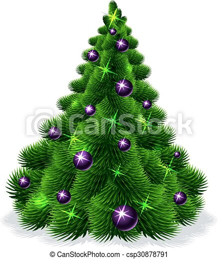 Christmas tree isolated - vector il - csp30878791