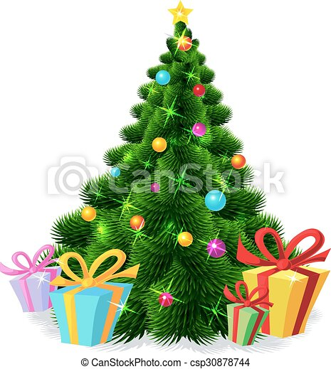 Christmas tree isolated - vector il - csp30878744