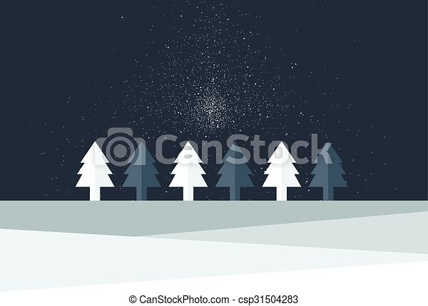 Christmas Tree Land Snow Flakes Falling In The Night Simply Flat