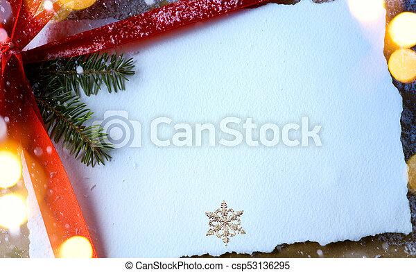 christmas tree light and Christmas greeting card - csp53136295