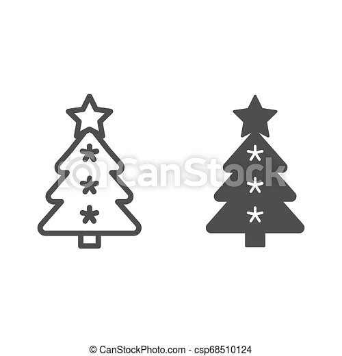 Christmas tree line and glyph icon. Fir-tree vector illustration isolated on white. Holidays outline style design, designed for web and app. Eps 10. - csp68510124
