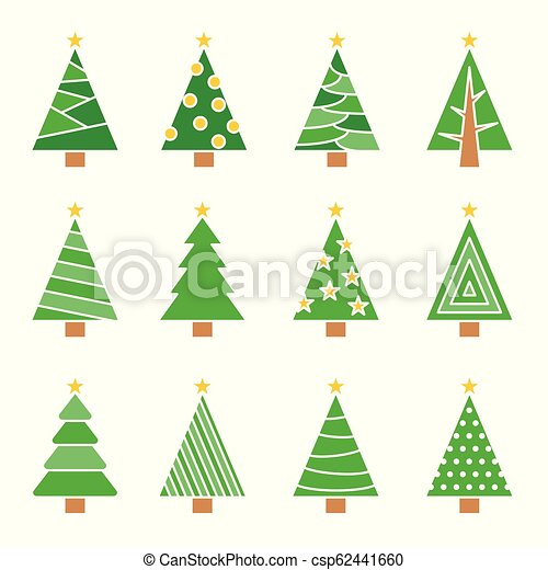 Christmas Tree Icon.Christmas Tree Line Vector Set Concept Tree Icon Collection