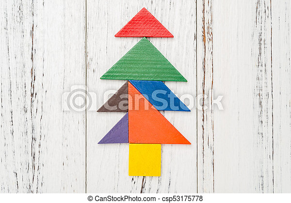 christmas tree made by wooden tangram csp53175778