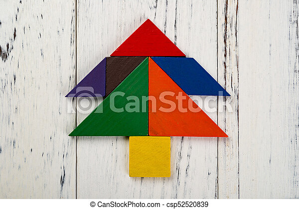 christmas tree made by wooden tangram csp52520839
