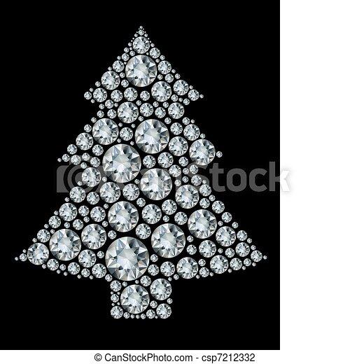Christmas tree made from diamonds.  - csp7212332