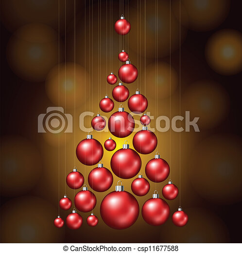 Christmas tree made from red balls. Red christmas balls forming a christmas tree eps10.