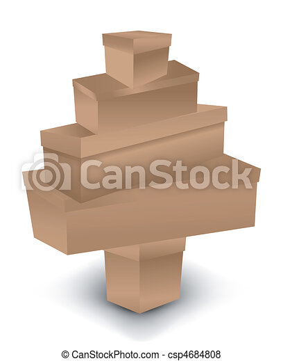 christmas tree made of box vector illustration csp4684808 - Christmas Tree Boxes