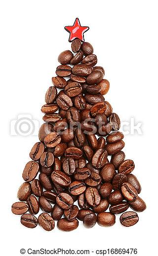 Coffee Christmas Tree.Christmas Tree Made Of Coffee Beans