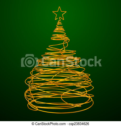 Wire Christmas Tree.Christmas Tree Made Of Gold Wire Green Background