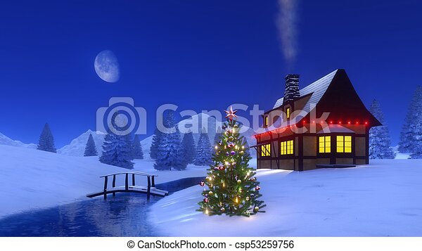 Mountain Christmas Tree.Christmas Tree Near Mountain Cabin At Night