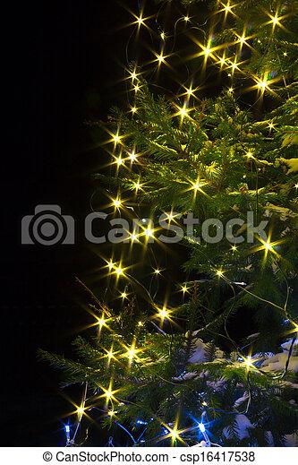 Christmas tree night with lights - csp16417538