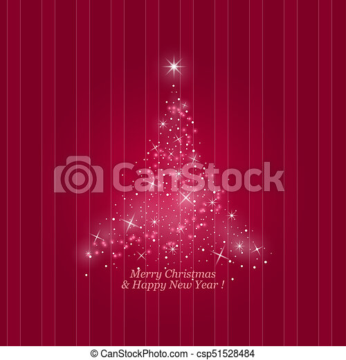 Christmas Tree On A Striped Pink Background