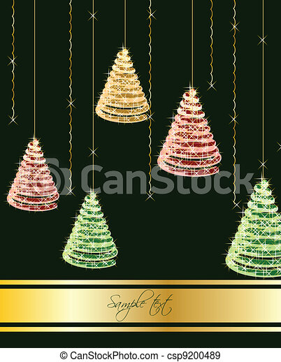 Christmas tree on green background. Vector - csp9200489