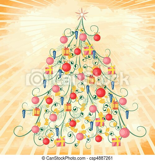 Christmas tree on grunge background - csp4887261