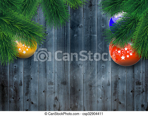 Christmas tree on wooden background - csp32904411